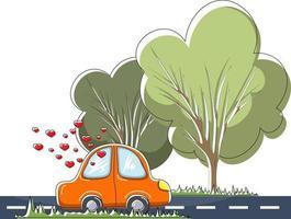 Vektorbild eines Autos, das auf einer Asphaltstraße fährt. Herzen aus dem Autofenster weisen auf eine herzliche Beziehung zwischen Menschen hin, die darin reisen. das Konzept der Familiengründung oder der Geburt von Gefühlen vektor