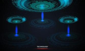 Technologiehintergrund 01abstrakter Hintergrund der runden futuristischen Technologie mit Hud-Elementen Kreis digitale futuristische blaue Farbverlaufsinnovation von Technologiekonzepten. vektor