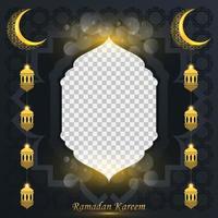 ramadan kareem bakgrund för sociala medier post designmall. halvmåne och lyktelement. islamiska bakgrunder för affischer, banderoller, gratulationskort och mall för sociala medier. vektor