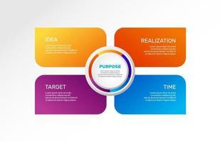 Infografiken Diagramme eingestellt. Workflow, Diagramm. Zweck. Vektor Business Illustrationen.