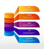 Infografiken. bunte Geschäftsprozesse, Workflow, Diagramm. Zweck. Vektor Business Illustrationen.