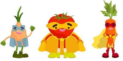 Satz Superheldengemüse. Zwiebel, Tomate und Karotte im Cartoon-Stil. vektor