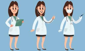 Ärztin in verschiedenen Posen. vektor