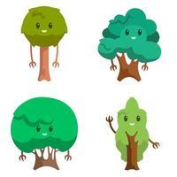 uppsättning olika antropomorfa träd. vektor