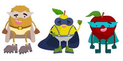 Satz Superheldenfrüchte. Kiwi, Birne und Apfel im Cartoon-Stil. vektor