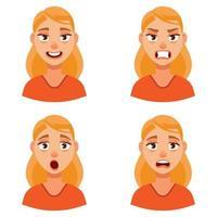 Frau mit verschiedenen Emotionen. vektor