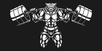 varg bodybuilder med svart vit skivstång lyft vektor