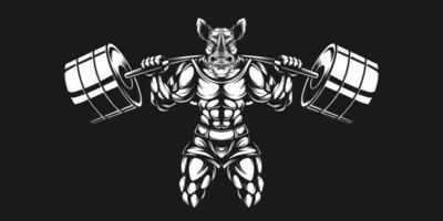 noshörningskonstruktion som lyfter skivstång och svartvit färg vektor