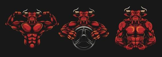Bull Bodybuilder mit Langhantel und roter Farbe vektor