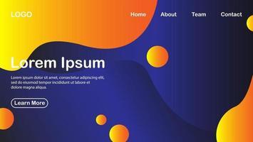 abstrakter Hintergrund mit flüssigem Effekt mit orange Farbe und blauem Effekt vektor