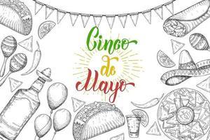 cinco de mayo festlicher Hintergrund mit handgezeichneten Symbolen - Chili-Pfeffer, Maracas, Sombrero, Nachos, Tacos, Burritos, Tequila, Luftballons, die auf Weiß isoliert werden. handgemachte Schrift. vektor