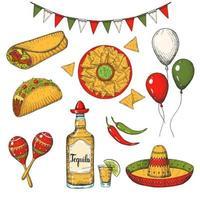 cinco de mayo Vektor farbiger Satz. handgezeichnete Symbole - Chili-Pfeffer, Maracas, Sombrero, Nachos, Tacos, Burritos, Tequila, Luftballons, Flaggengirlande isoliert auf Weiß. skizzieren. mexikanisches Essen und Gegenstände