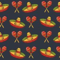nahtloses Muster von Cinco de Mayo mit farbigen handgezeichneten mexikanischen Symbolen - Maracas und Sombrero auf Schwarz. skizzieren. für Hintergrundbild, Webseitenhintergrund vektor