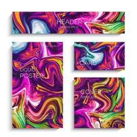 blandning av akrylfärger. modernt konstverk. abstrakt flytande bakgrundsuppsättning vektor