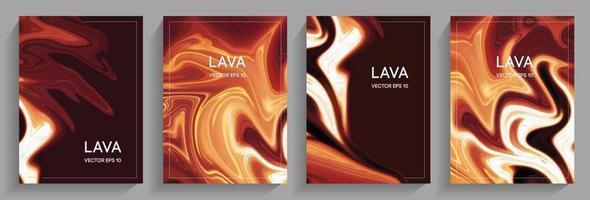 eine Reihe von Broschüren fließen Lava vektor
