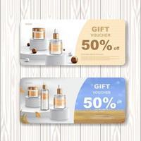 Geschenkgutscheinverkauf oder Festivalverkauf. Kosmetik- oder Hautpflegeprodukt. Vektorillustration. vektor