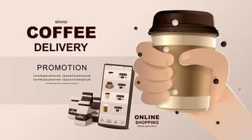 online-koncept. kaféleverans på mobil. ansökan om mat och dryck. vektor