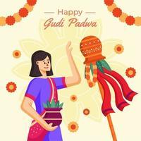 glückliches gudi padwa Festival vektor