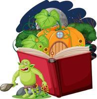 Goblin- oder Troll-Zeichentrickfigur mit einem Geschichtenbuch vektor
