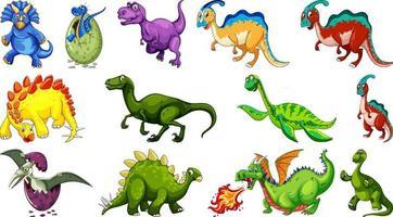 verschiedene Dinosaurier-Zeichentrickfigur und Fantasy-Drachen isoliert vektor
