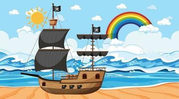 Ozean mit Piratenschiff bei Tageszeitszene im Karikaturstil vektor
