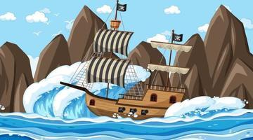 hav med piratskepp på dagtid scen i tecknad stil vektor