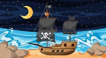 hav med piratskepp på nattplats i tecknad stil vektor