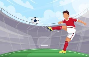 fotbollsspelare sparkar bollen på stadion vektor