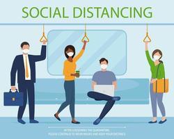 Menschen in Maske über das Konzept der sozialen Distanzierung im öffentlichen Verkehr vektor