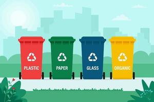 soptunnor för organiskt, papper, plast, glasavfall på stadsbakgrund vektor
