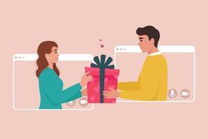 Liebespaar in Videoanrufrahmen. Online-Dating, Geburtstag, Valentinstag Konzept vektor