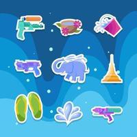 Songkran Wasser Festival Aufkleber Set vektor