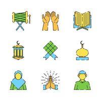 eid mubarak hälsningar ikonuppsättning vektor