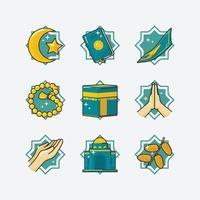 ramadan aktivitet ikonuppsättning vektor