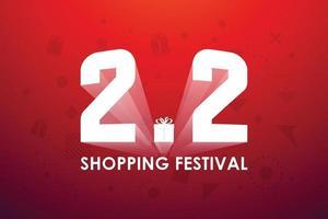 2.2 shopping festival, tal marknadsföring banner design på röd bakgrund. vektor illustration