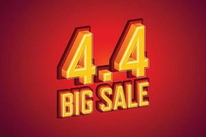 4.4 Big Sale Schrift Ausdruck Pop-Art-Comic-Sprechblase. Vektorillustration vektor