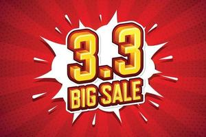 3,3 stor försäljning teckensnitt uttryck popkonst komisk pratbubbla. vektor illustration