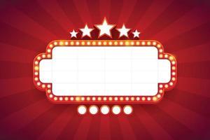 Lichtrahmen glänzende Retro-Plakatwand mit Dekoration. Casino Vintage-Stil. Vektorillustration vektor
