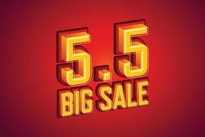 5,5 stor försäljning teckensnitt uttryck popkonst komisk pratbubbla. vektor illustration