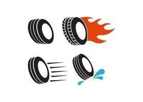 schneller Reifenikonenillustrationsvektorsatz vektor