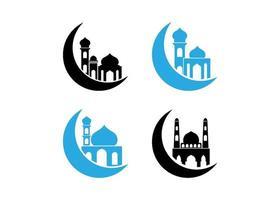Halbmond Moschee Ikone Design-Vorlage vektor