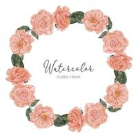 akvarell blom persika ros flroal krans cirkel ram
