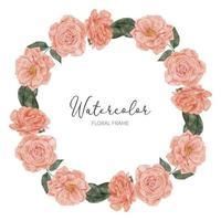 Aquarell Blüte Pfirsich Rose Flroal Kranz Kreis Rahmen vektor