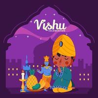 Vishu mit Jungen, der im Tempelhintergrund betet vektor
