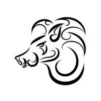 svartvit streckkonst av vildsvinhuvud. vektor