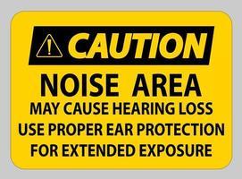 varning ppe-tecken, bullerområdet kan orsaka hörselnedsättning, använd lämpligt hörselskydd för längre exponering
