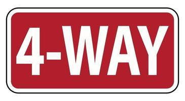 trafik vägskylt 4 sätt varning på vit bakgrund vektor