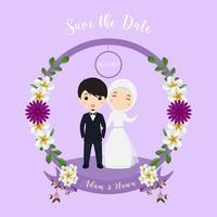 muslimska par bröllop inbjudningskort vektor