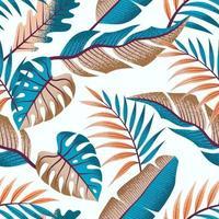 sömlöst tropiskt mönster med vackra blad på ljus bakgrund.