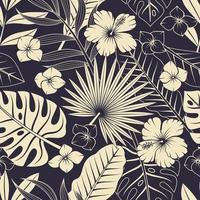 sömlösa mönster med tropiska löv och blommor. elegant exotisk bakgrund.